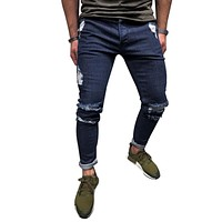LASPERAL Fashion Ankle Zipper Skinny Jeans For Men Deep Blue 2018 Men Jeans Stretch Destroyed Ripped Street Hip Hop Pencil Pants