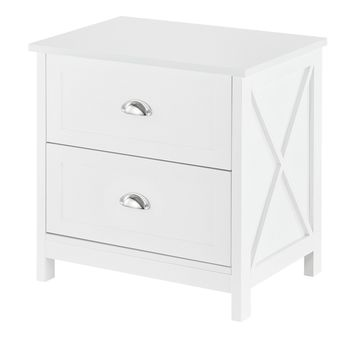 Country - Nightstand, Sidetable, Accent table with 2 Drawers, white lacquered, metal handles, country style