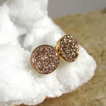 Rose Gold Druzy Earrings Titanium Drusy Quartz Studs Gold Vermeil Bezel Set