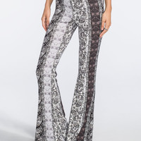 H.I.P. Vertical Paisley Print Womens Flare Pants Black/Grey  In Sizes