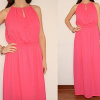 Chiffon Dress Maxi Dress Summer dress in Hot pink for Women