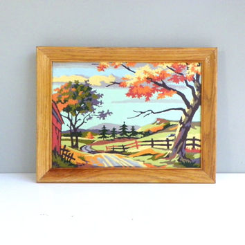 Vintage  Fall Paint By Numbers Framed Art