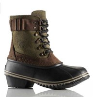 Sorel Winter Fancy Lace II Leather Boots for Women in Peatmoss NL2125-213
