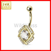 14k Solid Gold Ring 14g Belly Button Ring Diamond Cut Round 14k Yellow Gold 14g Navel Ring Navel Jewelry Belly Button Jewelry