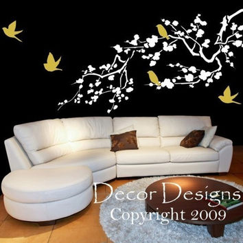 Birds Around A Cherry Blossom Wall Decal