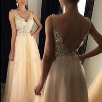 2017 New Charming Long A-line Light Champagne Tulle Appliques Beaded Evening Dresses Sexy V-Back V-Neck Prom Party Gown R7202