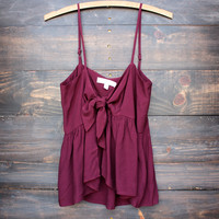 foxy little front tie crop top in oxblood