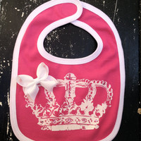 Princess Crown Bling Bib With Swarovski Crystals