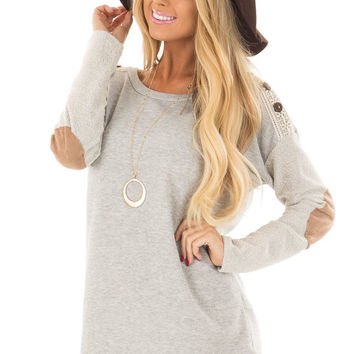 Heather Grey Top with Sheer Lace Detail and Elbow Patches