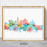 Los Angeles Print, Los Angeles California, Los Angeles Skyline, Office Decor, Office Print, Skyline Art, Cityscape Art, ArtPrintZone