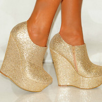 Women Silver Platform Glitter Sparkly High Wedges Shoes Heels Ankle Boots Gold