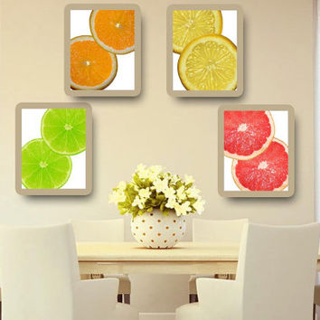 Kitchen Art Lime Lemon Orange Grape Fruit Citrus Set of 4 Print Home Decor Wall Art KA140014-15-16-17