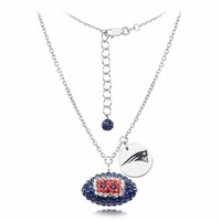 New England Patriots Silver and Crystal Necklace Jewelry. NFL Jewelry