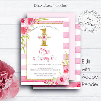 1st Gold Glitter Birthday Invitation, Striped, Pink Roses, Girl Birthday Party Invitations, Editable Birthday Printable Invite, Shabby Chic