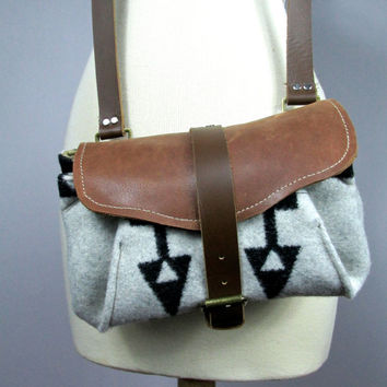 Pendleton wool and leather cross body bag