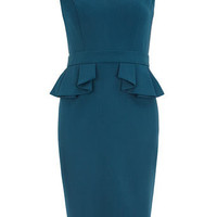 Petrol blue side peplum dress - Pencil Dresses  - Dresses