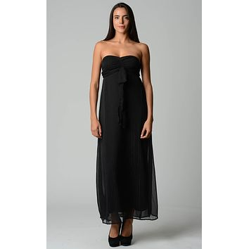 Women's Lurex Chiffon Strapless Lined Maxi Dress