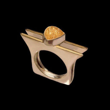 Quartz Silver and Gold 22k Ring made to order by aboutjewelry