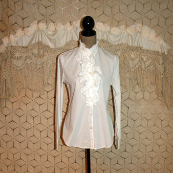 White Tuxedo Blouse Ruffled Shirt White Blouse Womens White Shirt Long Sleeve Button Up Ralph Lauren Size 8 Size 10 Medium Womens Clothing