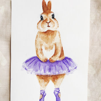 PURPLE bunny rabbit BALLERINA WATERCOLOR - original bunny rabbit watercolor painting nursery