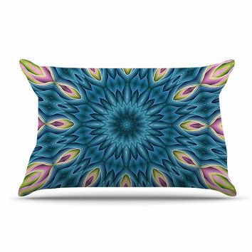 "Sylvia Cook ""Zapped Teal"" Blue Teal Pillow Case"
