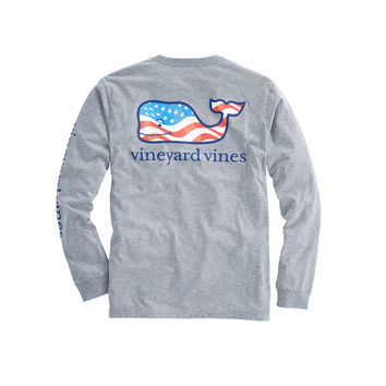 Long-Sleeve Waving Flag Whale Fill Pocket T-Shirt