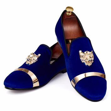 Harpelunde Men Flat Shoes Animal Buckle Wedding Shoes Blue Velvet Slippers Metal Circle Loafer Size 7-14