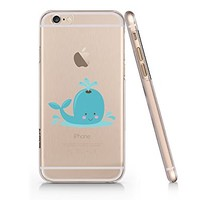Cute Whale Cute Animals Transparent Plastic Phone Case for Iphone 6 6s ^_^ Yurishop (NLA150.6sl)
