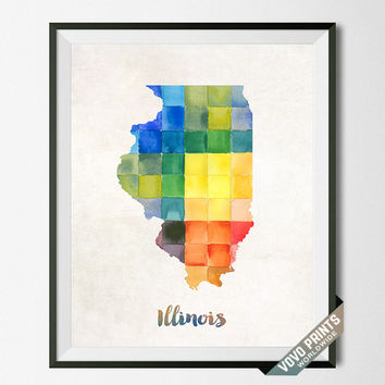 Illinois Map, Print, Watercolor, Poster, USA, States, America, Painting, Home Town, Art, Wall Decor, Dorm Room, Gift, Artwork [NO 14]