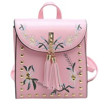 Square Flowers Embroidery Tassels Snap Rivets Flap Backpack