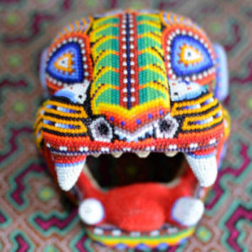 Peyote Stitch Jaguar Sculpture // Huichol Visionary Art // Mexican Art