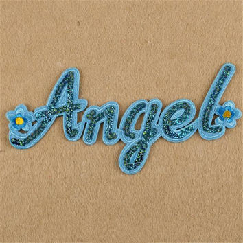 Hotsale women/men/boy/girl clothes embroidery angle patch fashion sequins flower badge iron on patches for clothing stick fabric