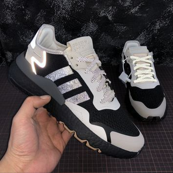 hcxx A1169 Adidas Nite Jogger 2019 3M Reflection Boost Running Shoes Black White Gray