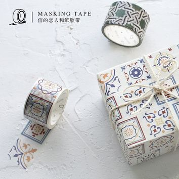 30mm vintage japanese geometry ceramic tile washi tape decorative scrapbooking kawaii sticker planner masking adhesive tape