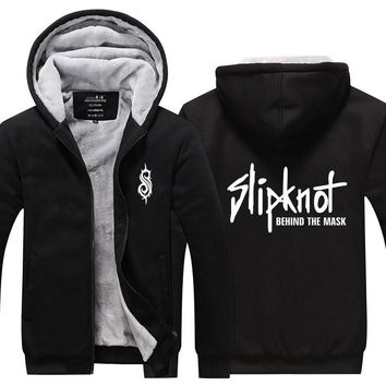 2017 Winter Zip up Zipper Thick Hoodies Slipknot Punk Heavy Music Rock Roll Band Men Tops Casual Sweatshirt Tracksuit Plus size