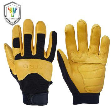 OZERO Men's Work Gloves Deerskin Leather Driver Security Protection Wear Safety Workers Working Racing Moto Gloves For Men 8003