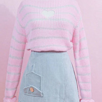 Cut out heart striped pink sweater