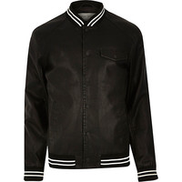 River Island MensBlack casual stripe trim varsity jacket
