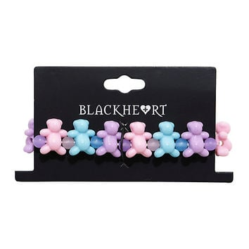 Blackheart Pastel Teddy Bear Stretch Bracelet