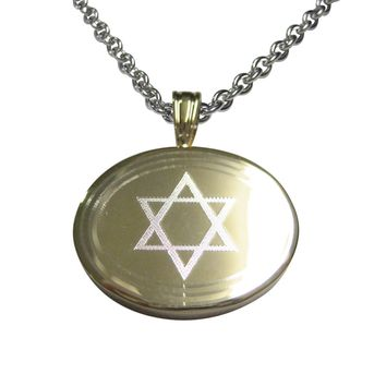 Gold Toned Etched Oval Religious Star of David Pendant Necklace