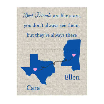 Best Friends Custom Map Print- best friends forever, travel moving away, personalized map, custom gift friend, bridesmaids gift
