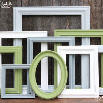 Baby Boy Nursery Frame Set / Green Grey White / Upcycled Hand Painted Gallery Wall Frame Set / Forest Park Collection