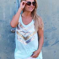 Sequin Chevron Tank {Aqua}
