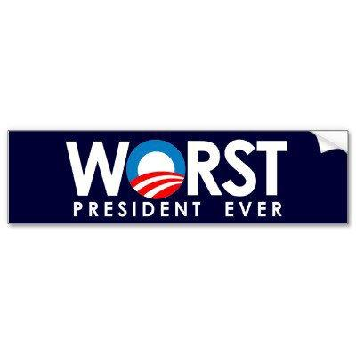 Anti-Obama - Worst President Ever white Bumper Sticker from Zazzle.com