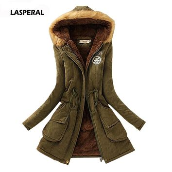 LASPERAL 2017 Parkas Women Winter Wadded Jacket Coat Thicken Cotton Jacket Femme Hiver Parkas Slim Hooded Parkas Coats Plus Size