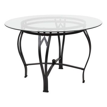 Syracuse 45'' Round Glass Dining Table with Black Metal Frame