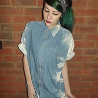 Vintage 90's Tie Dye Denim STREET STYLE Hip Hop Slouch Shirt from CherryCameTo