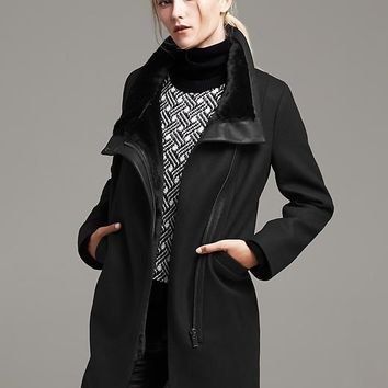 Banana Republic Funnel Neck Coat Size M Petite - Br black