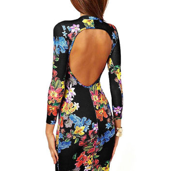 Floral Sheath Dress with Cut Out Back