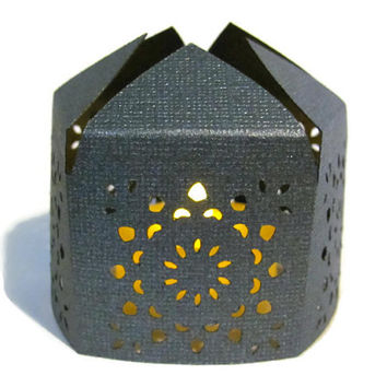 Black Moroccan Middle Eastern Paper Table Lantern for Wedding Centerpiece with LED Battery Tea Light Candle - Black Wedding Decor